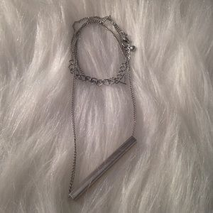 Silver bar necklace for layering, all occasions